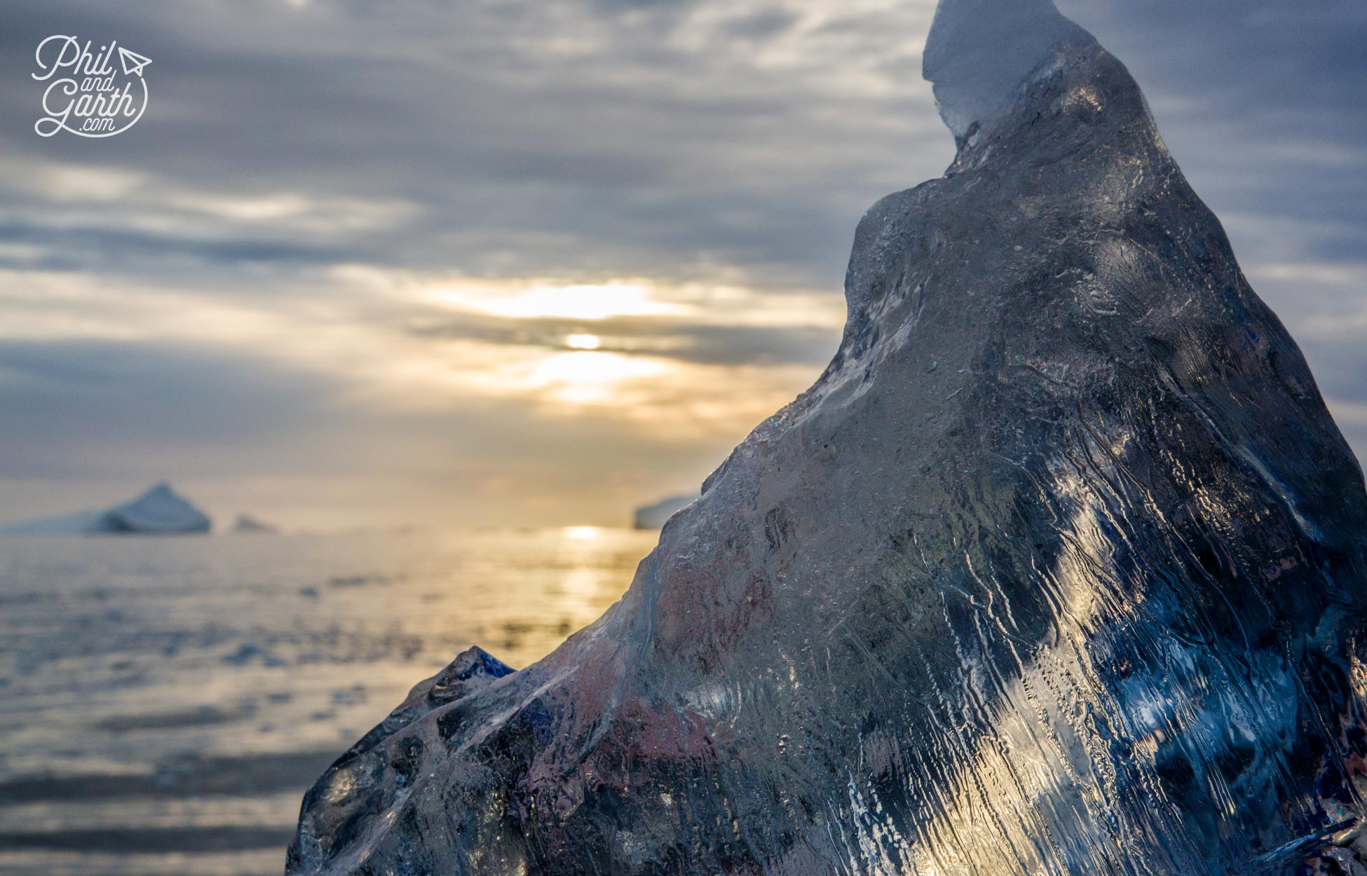 Looking through ice during Greenland's golden hour