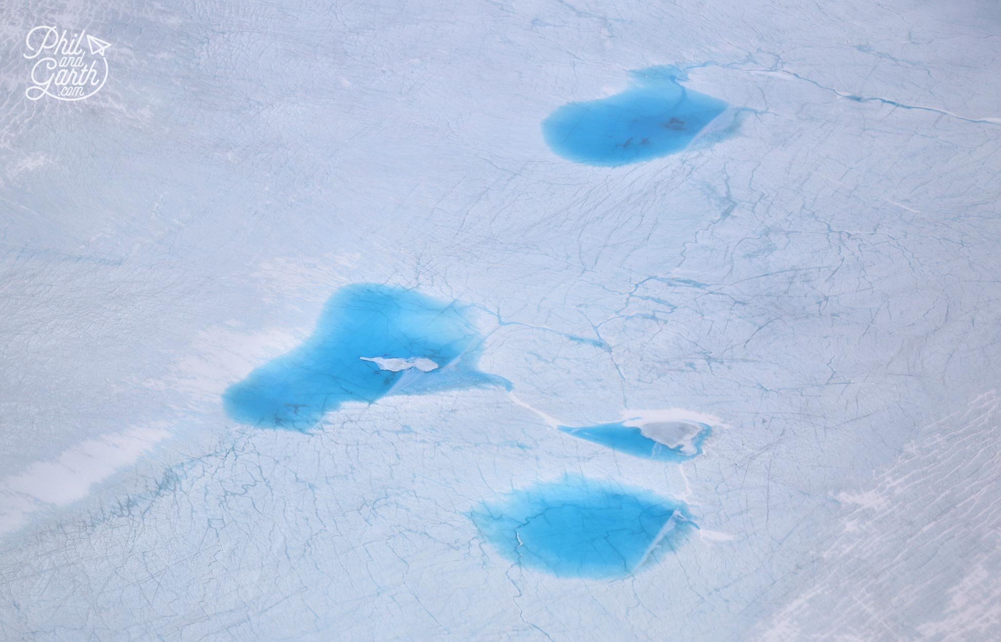 Meltwater lakes in Greenland - view from airplane