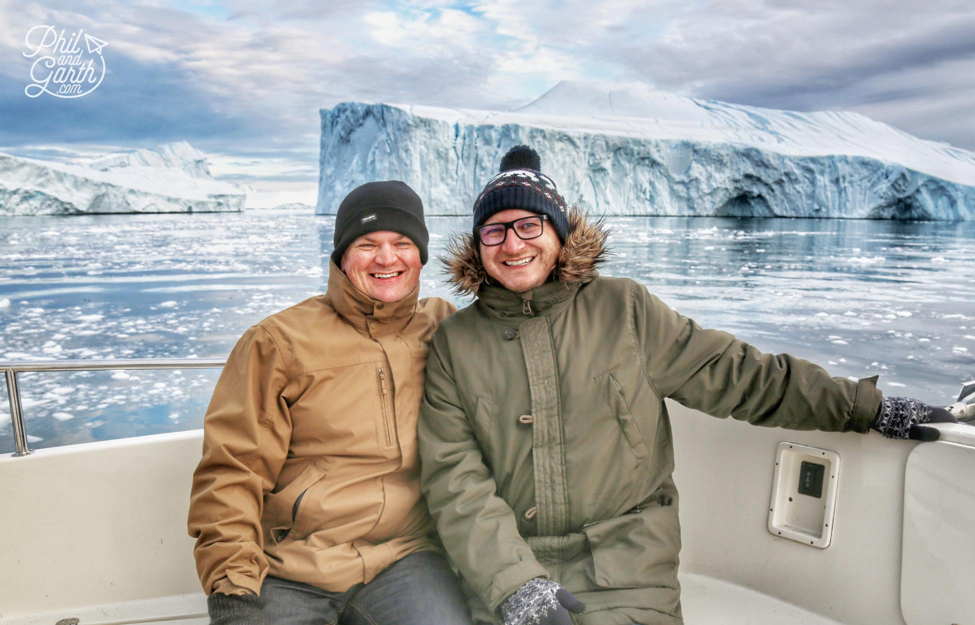 Phil and Garth wrapped up warm in Disko Bay Ilulissat, Greenland