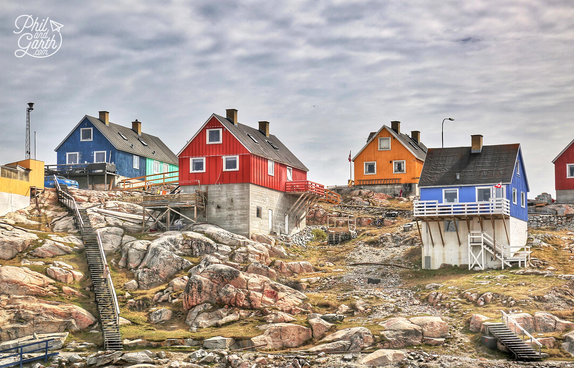 Rainbow coloured wooden houses