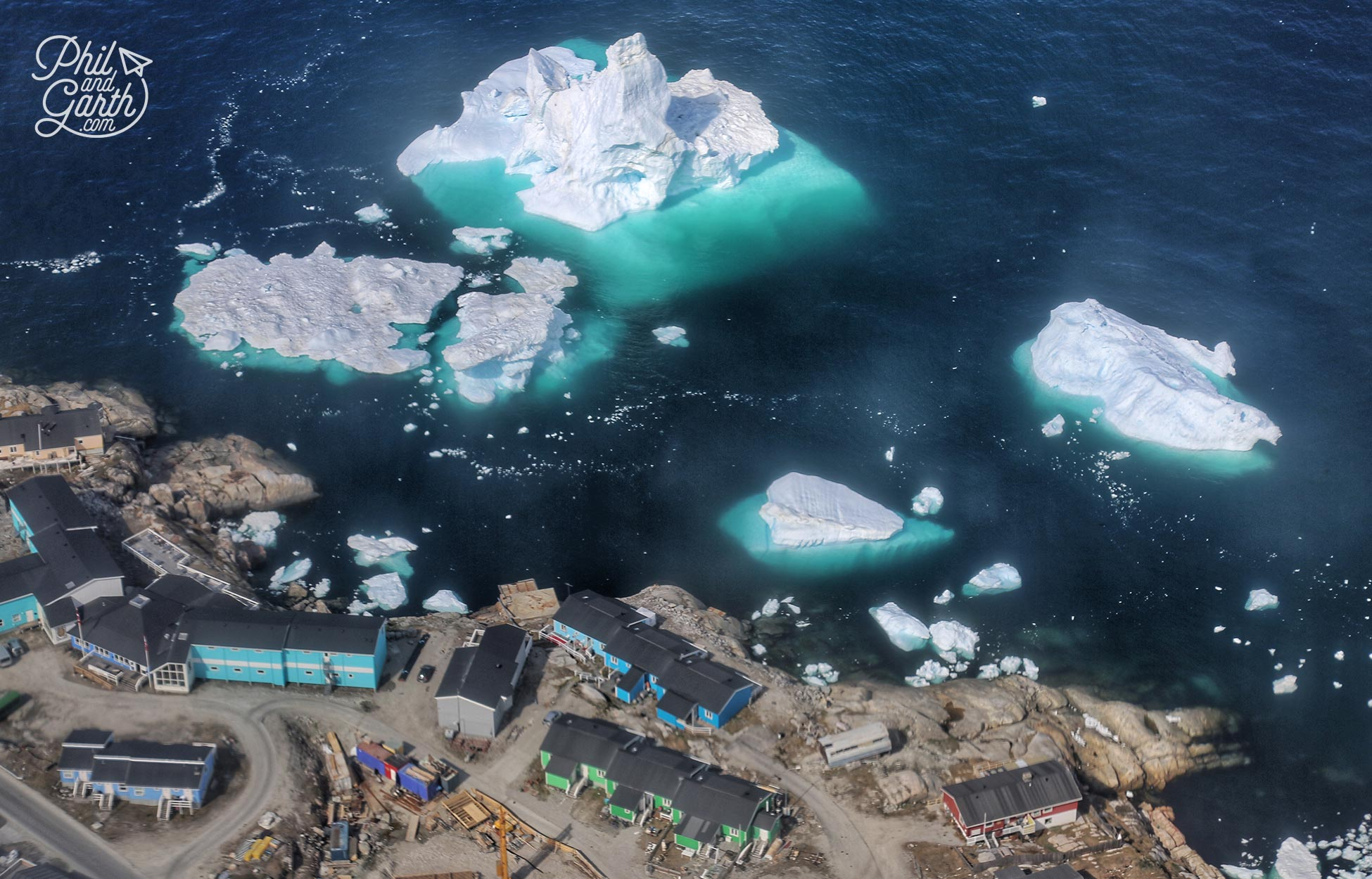 View of Disko Bay flying into Ilulissat, you can really see most of the iceberg is underwater