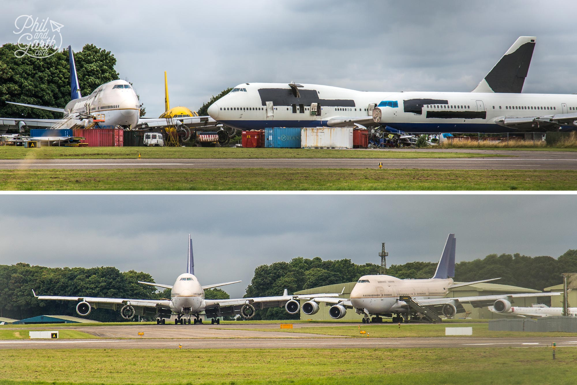 Boeing 747s at the airplane graveyard at Cotswolds Airport