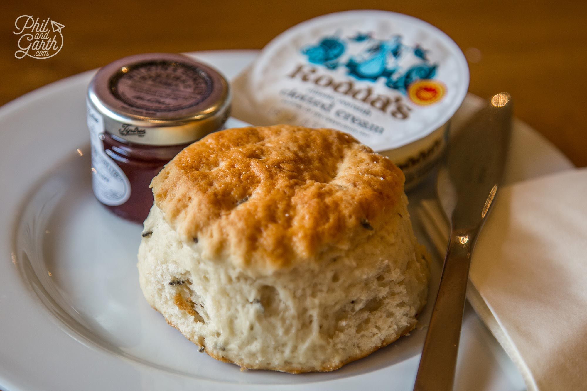 Delicious cream tea - Can you see the flecks of English lavender in our scones?