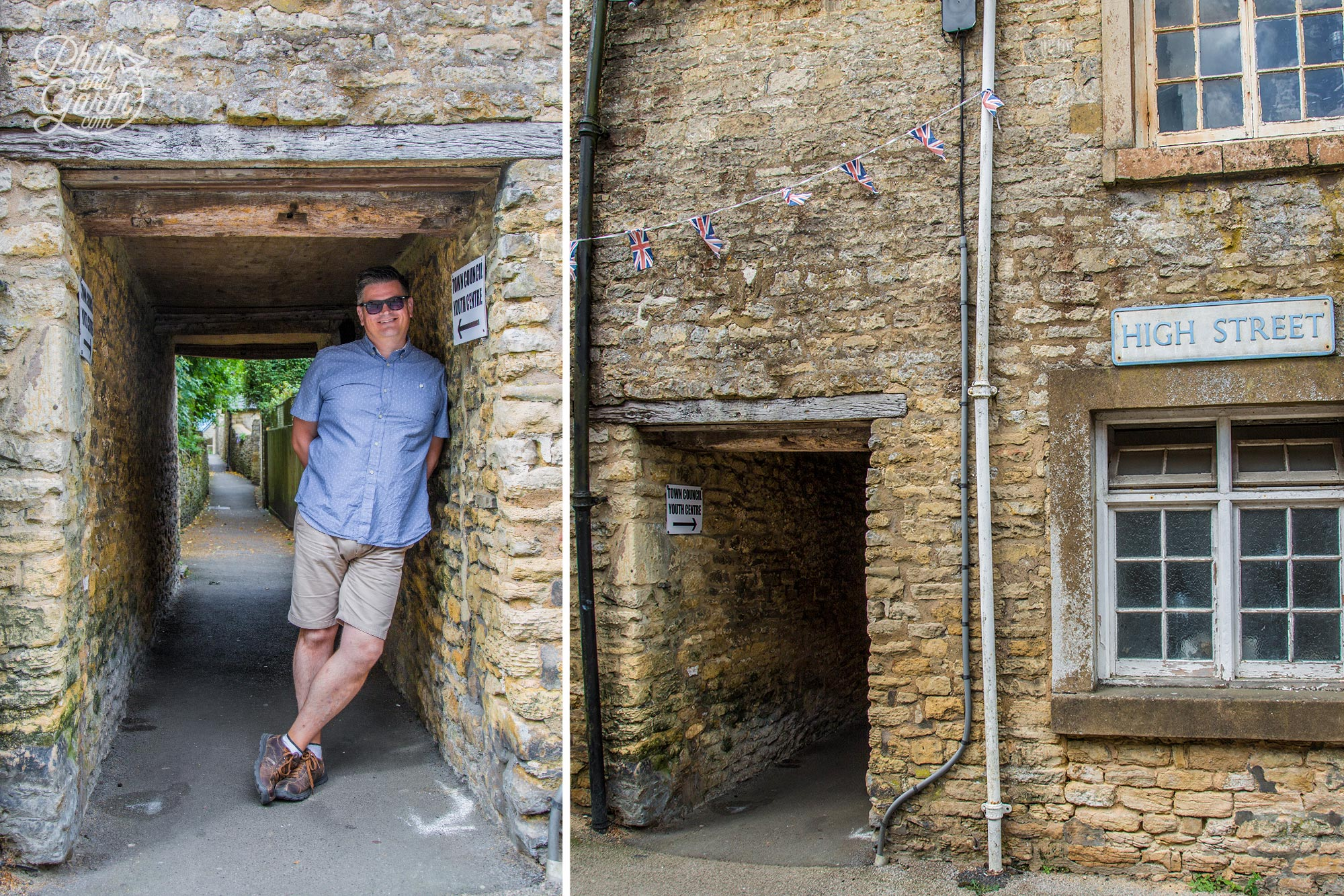 Phil inside a 'ture' an old alleyway