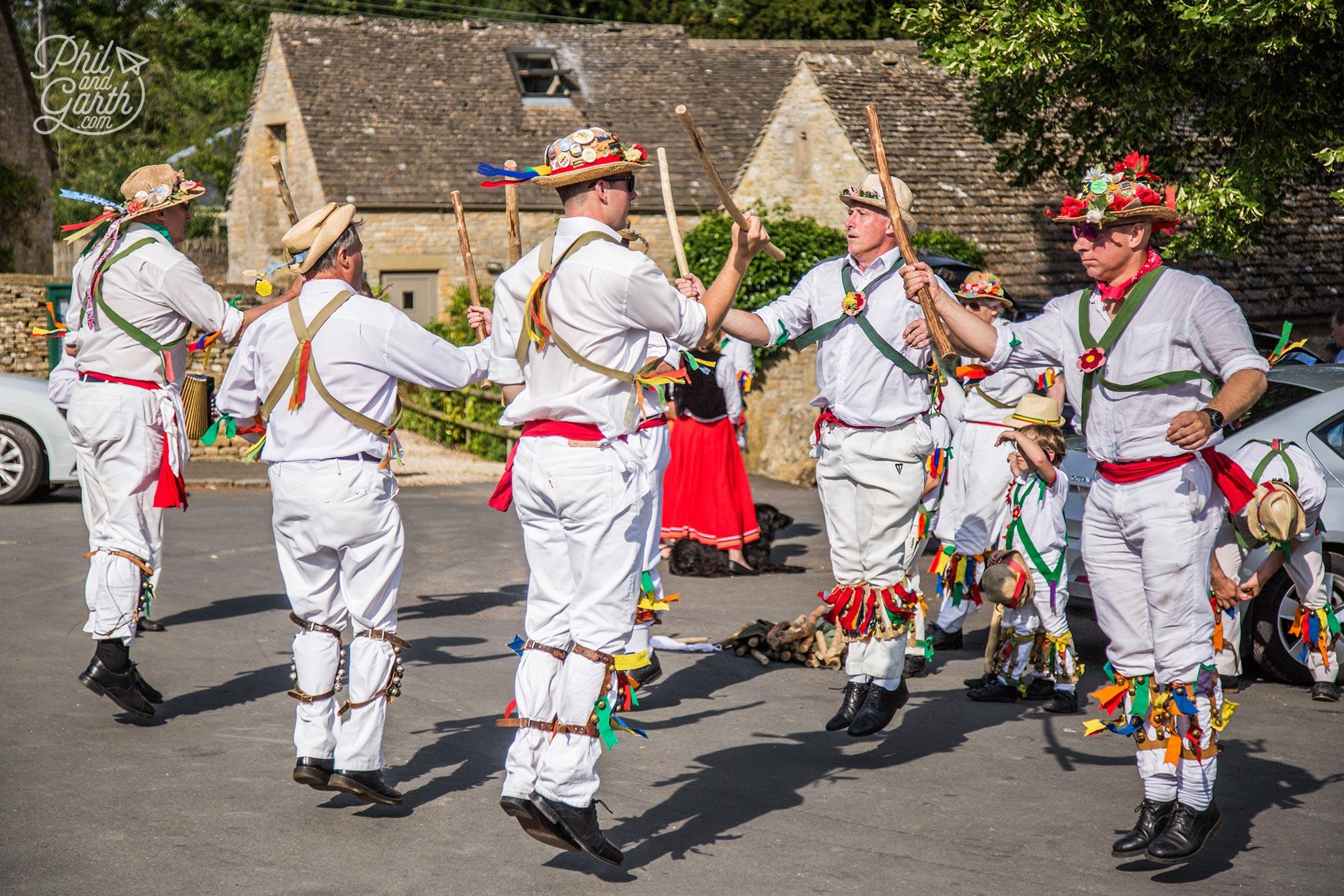 Traditional Morris dancers in Upper Slaughter