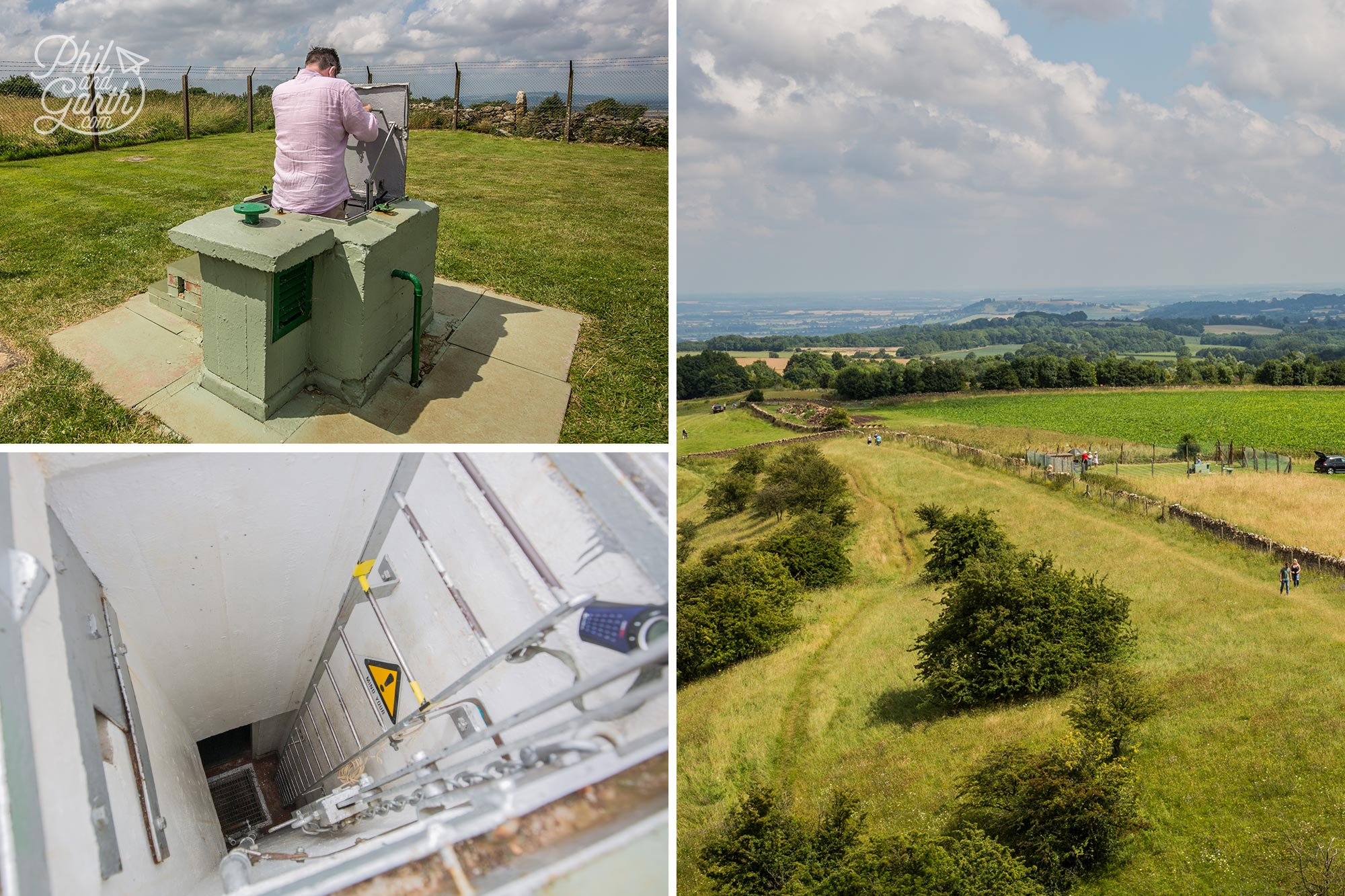 View from the tower of the nuclear bunker, and Phil climbing down the ladder