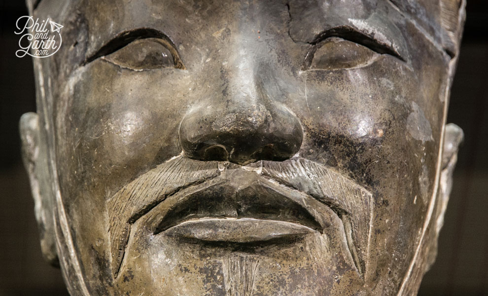 Close up of terracotta warrior face