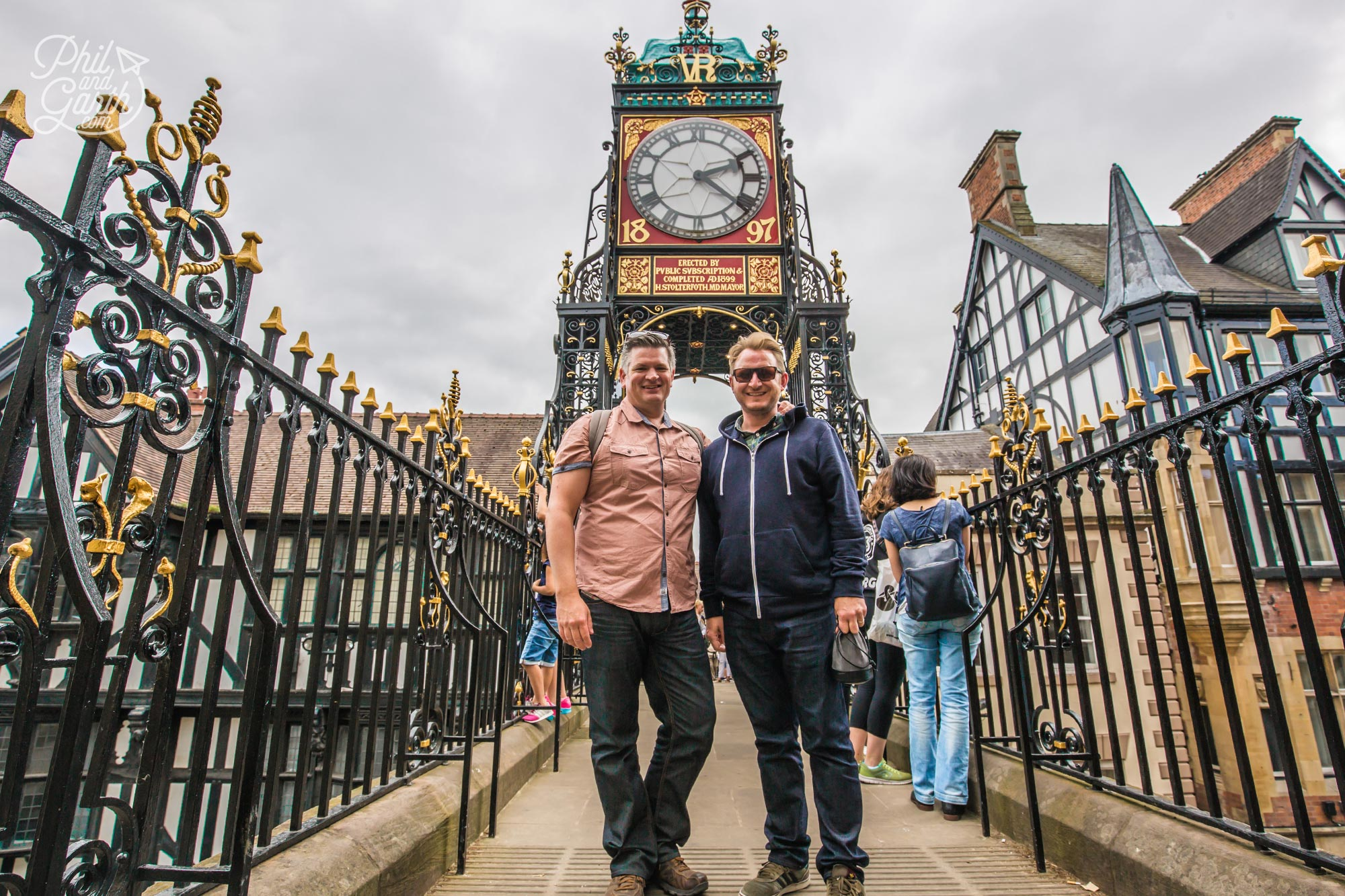 Phil and Garth at Chester's iconic Eastgate Clock