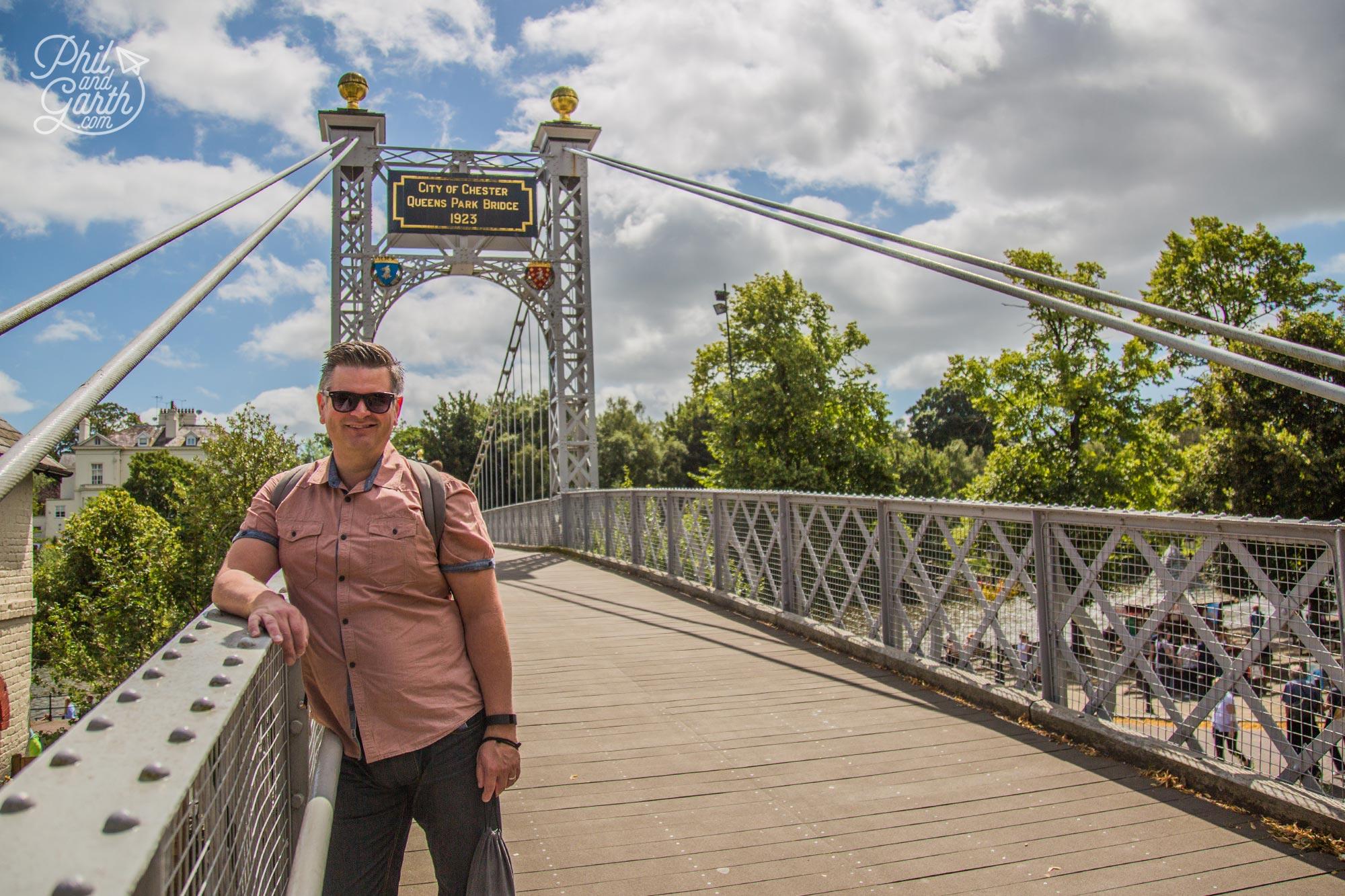 Phil at the Queens Park suspension bridge