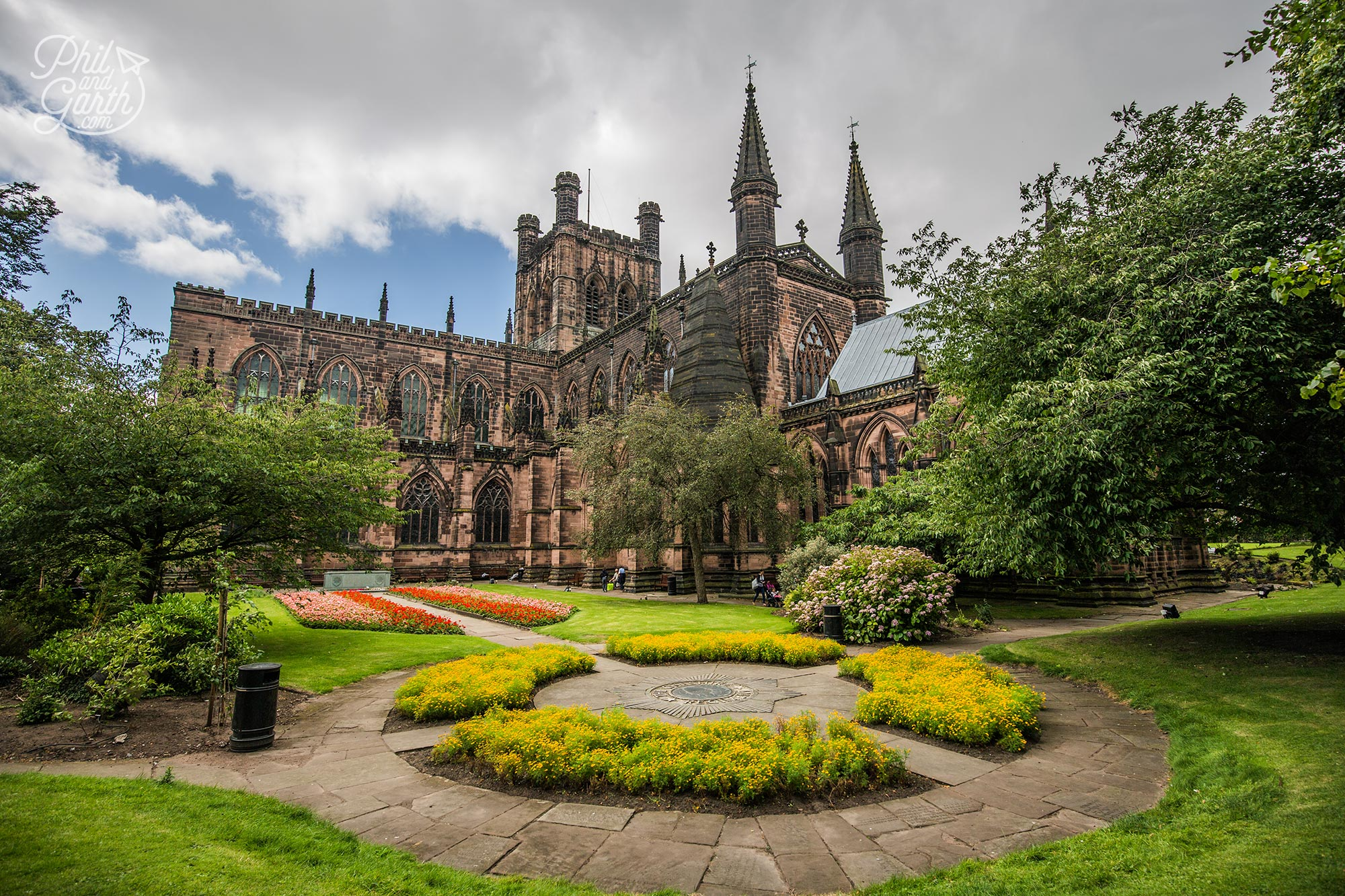The exterior and gardens of Chester Cathedral