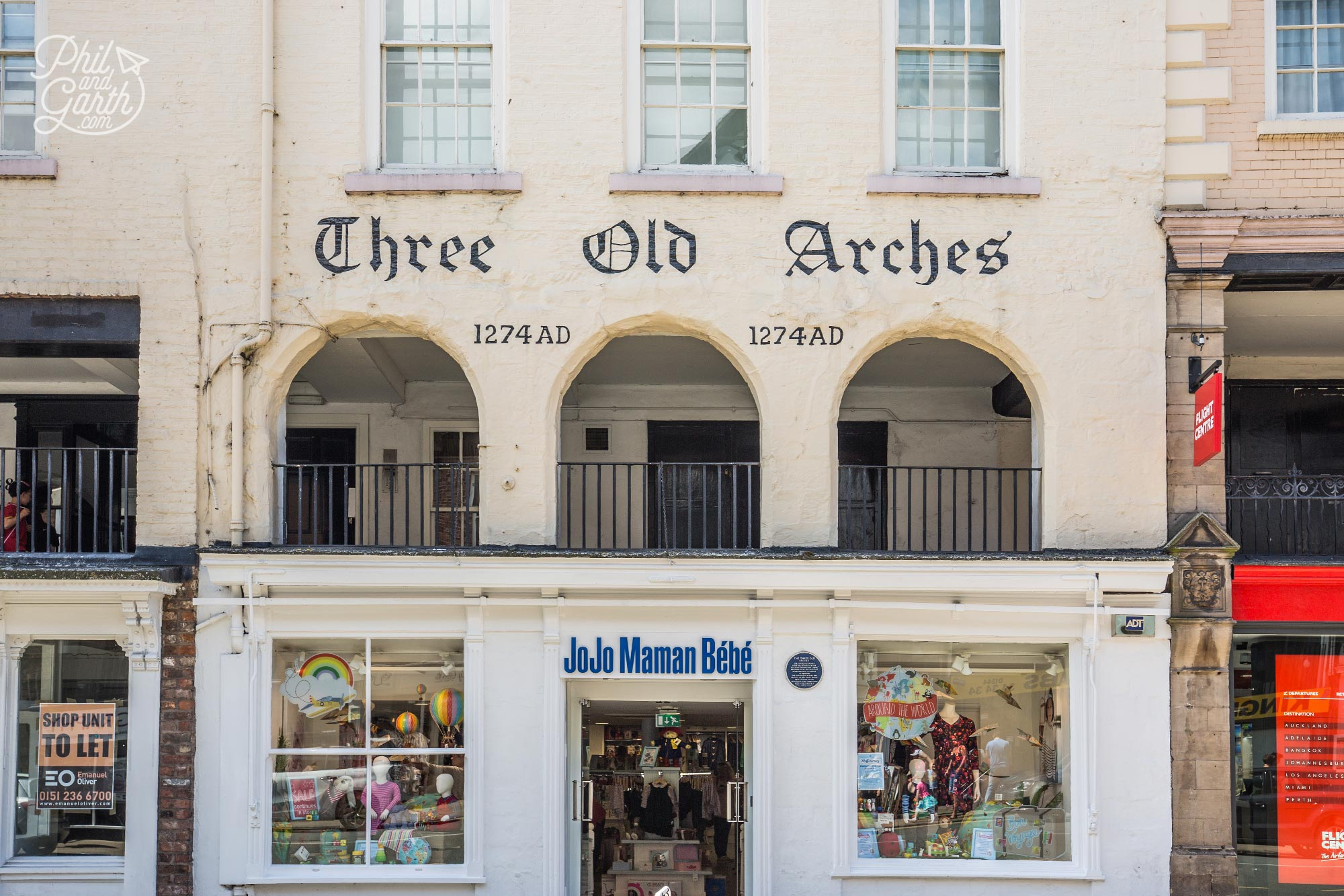Three Old Arches - The oldest shopfront in Chester