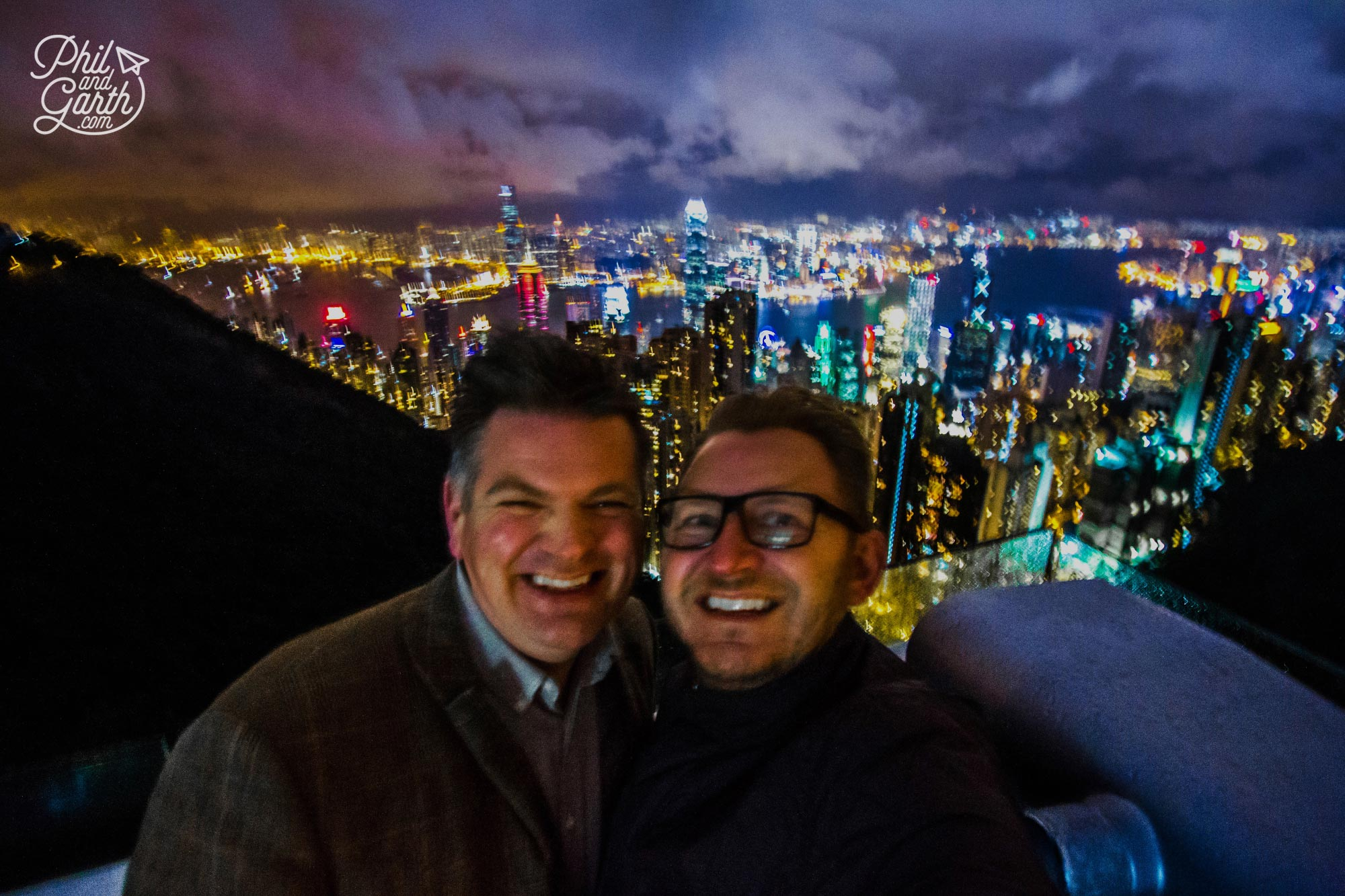 Phil and Garth selfie from Victoria Peak in freezing cold, wind and rain!