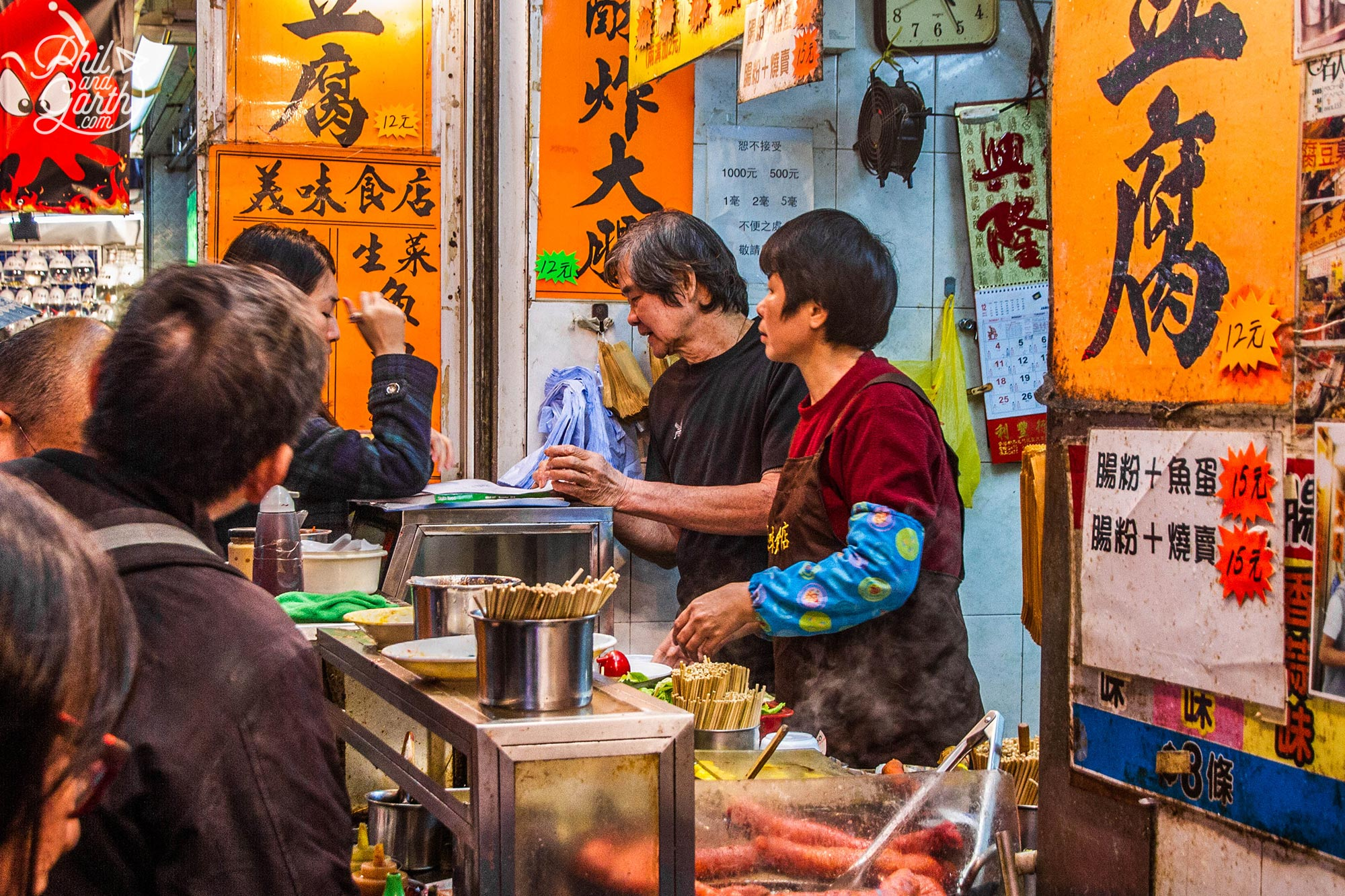 A street food counter in Mong Kok