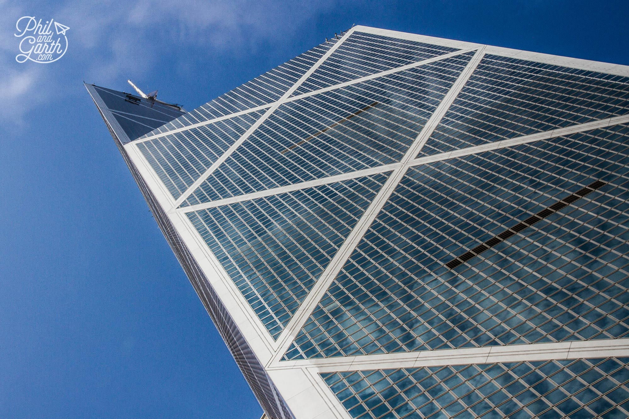The Bank of China Tower soaring into the sky