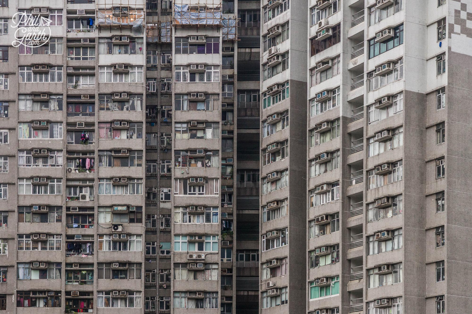 Hundreds of windows are dotted with air conditioning units