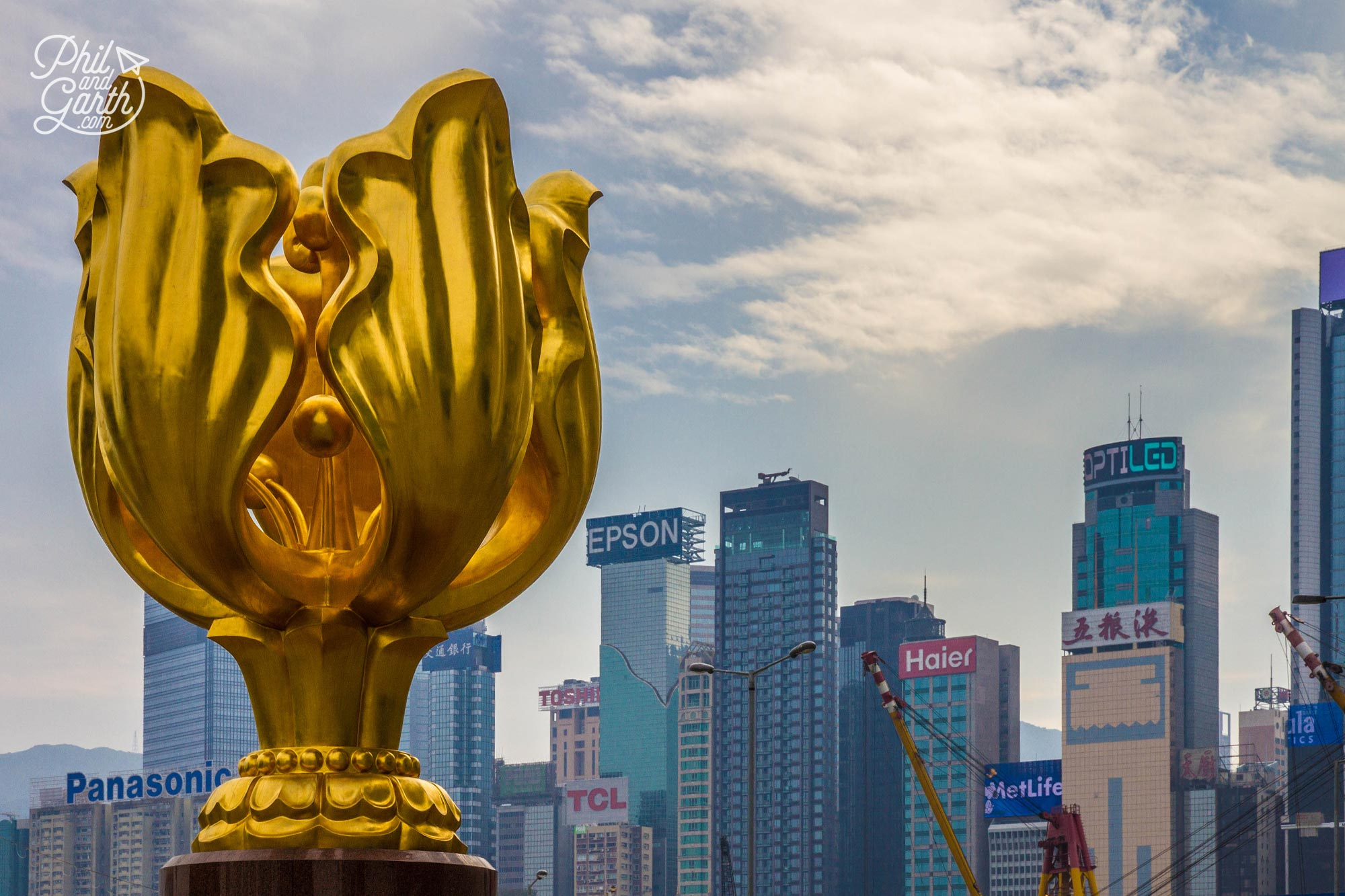 The 'Forever Blooming Bauhinia' sculpture on Golden Bauhinia Square