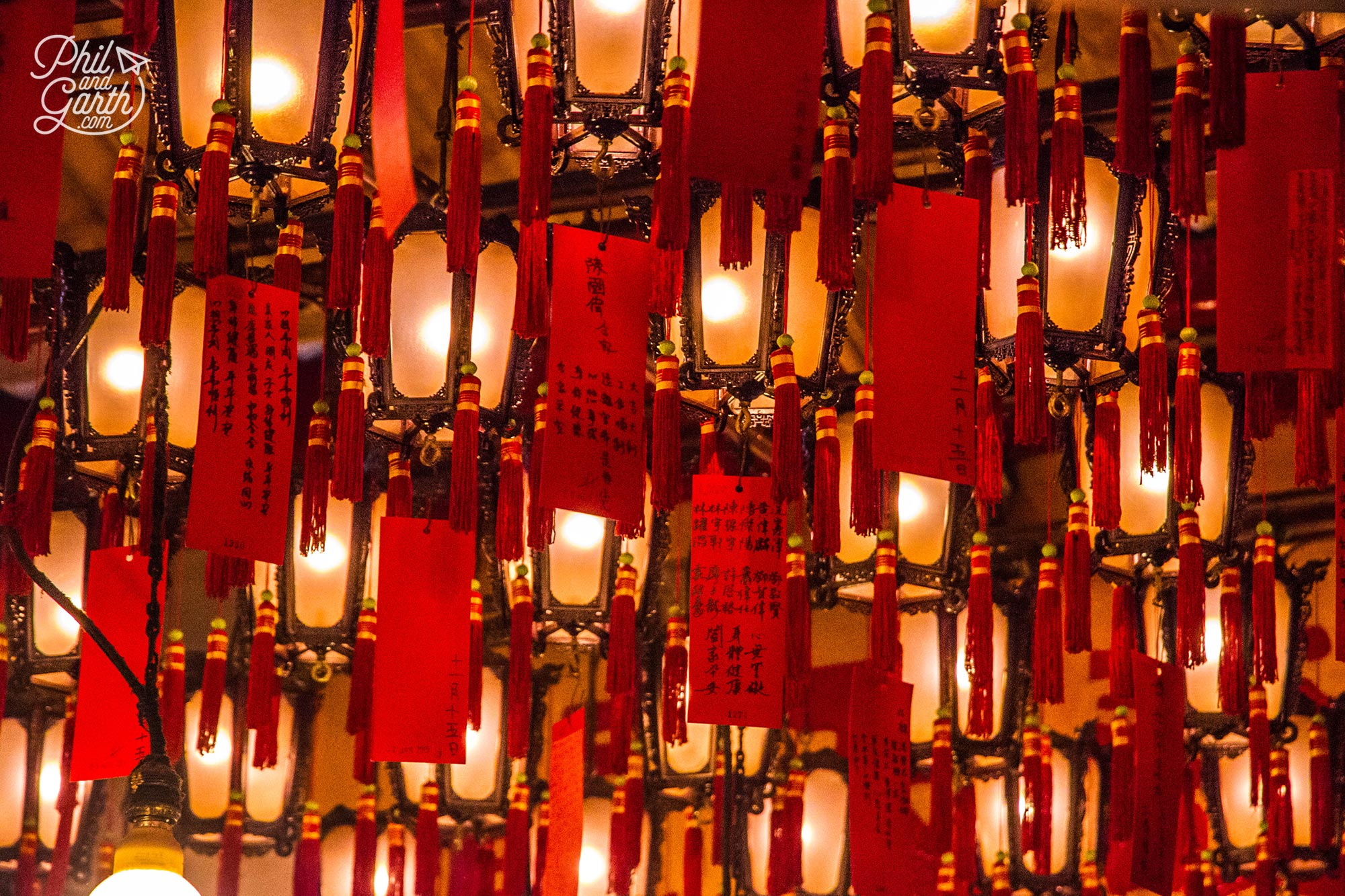 The Hall of Lamps inside the Man Mo Temple