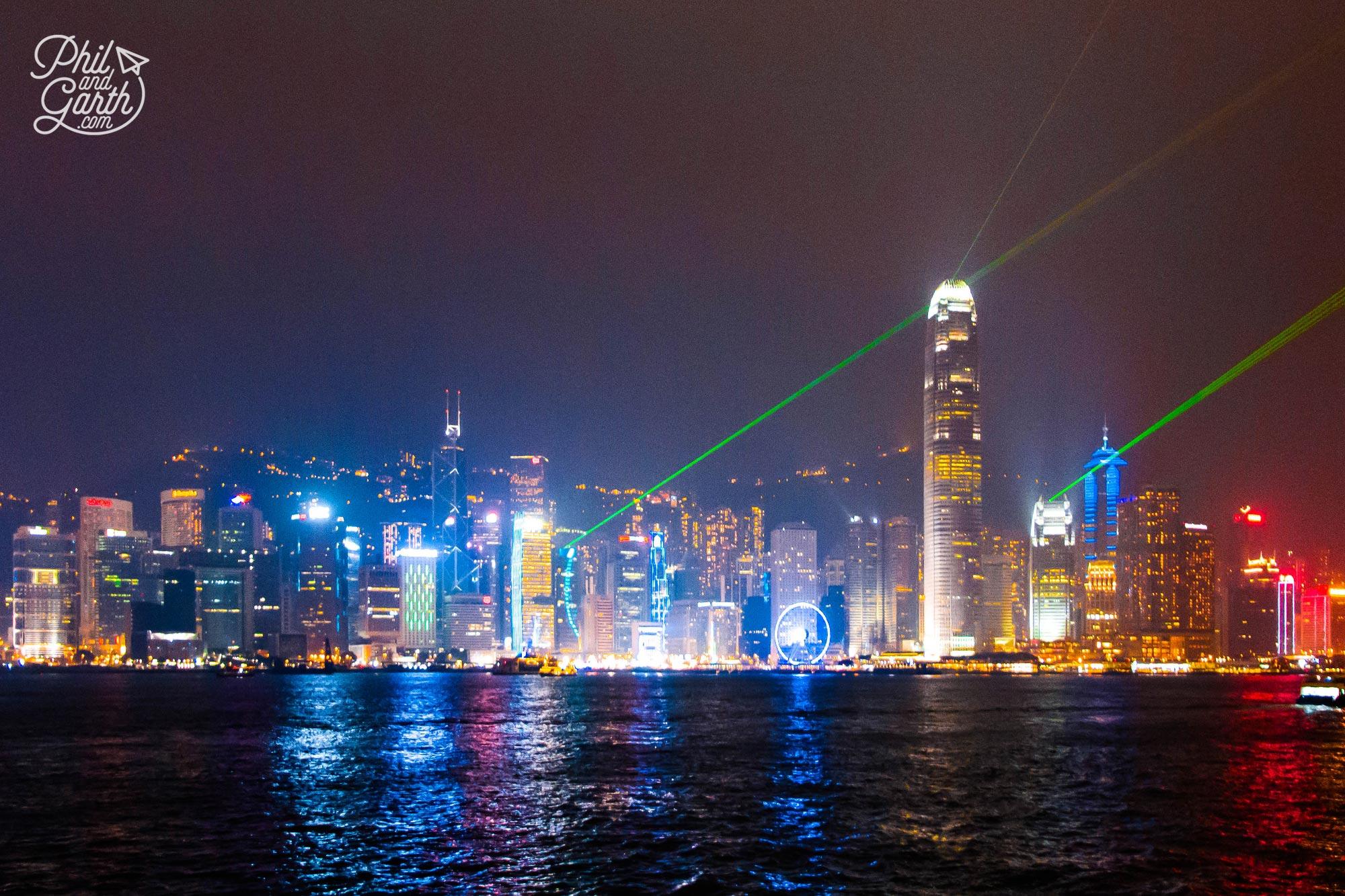 The Symphony of Lights show as viewed from Tsim Sha Tsui promenade