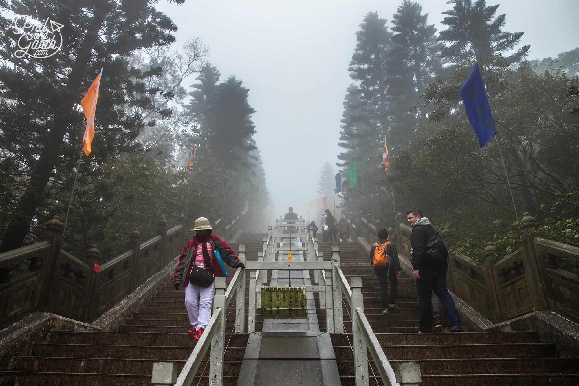 We should have had a glimpse of the Tian Tan Buddha as we walked up the steps