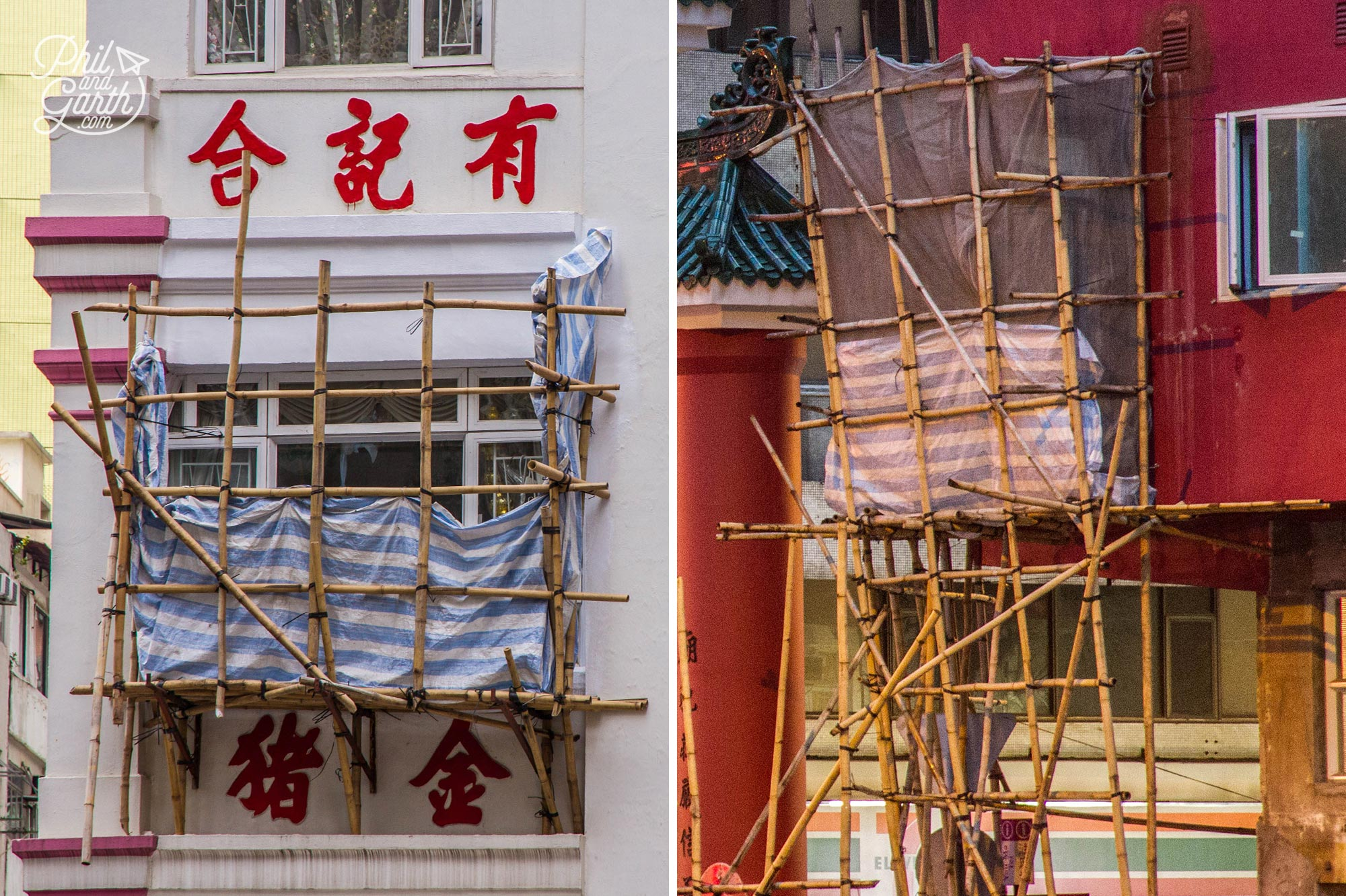 Check out the bamboo scaffolding!