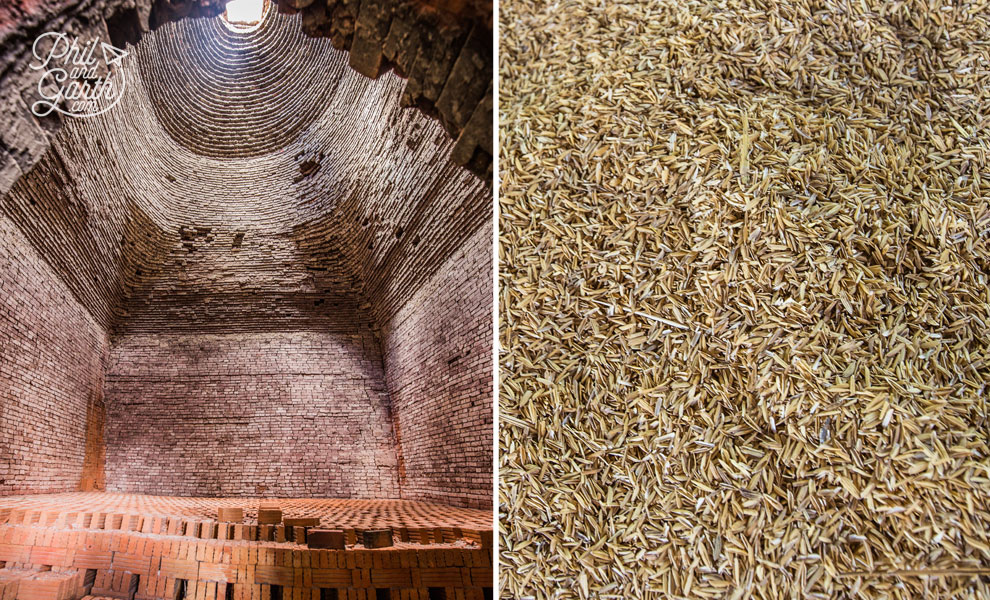 Kiln and rice husks used for fuel
