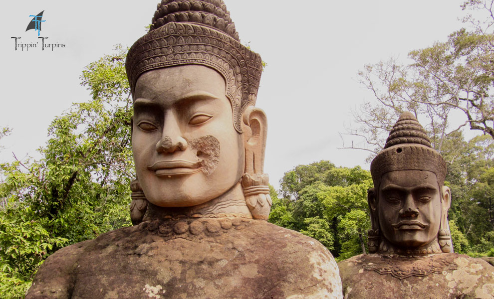 Statues on Angkor Thom's East Gate Bridge