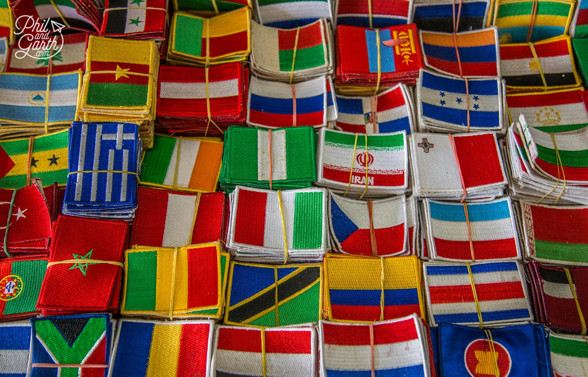 Flag patches from around the world on sale in Cambodia