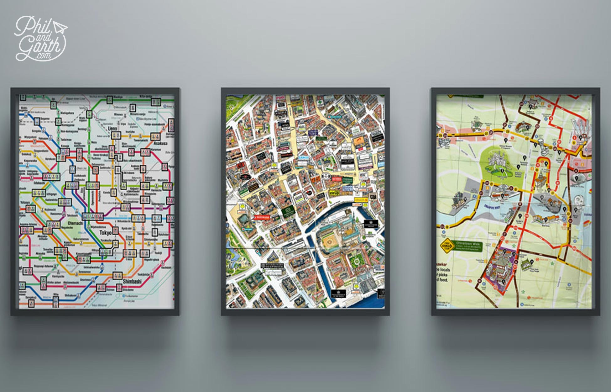 Keep and frame free subway and city maps