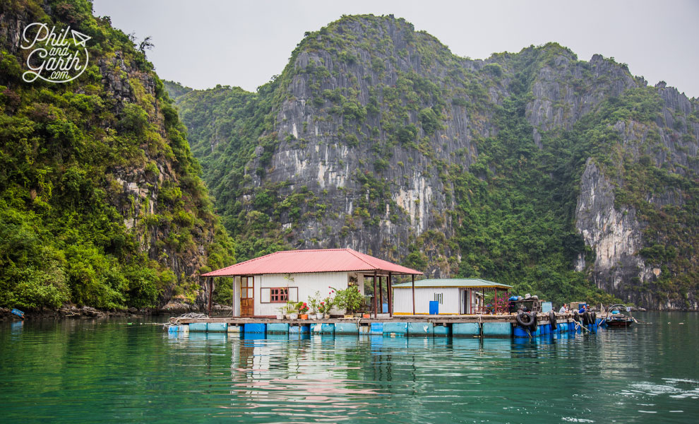 A floating home within the Cua Van fishing village