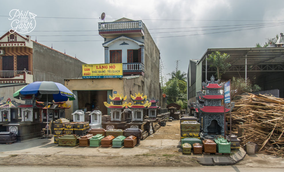 Roadside shops on our way back to Hanoi