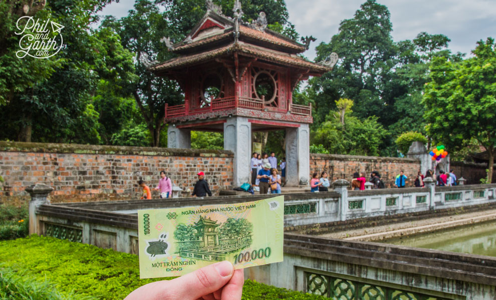 The Temple of Literature as featured on the 100,000 Dong banknote