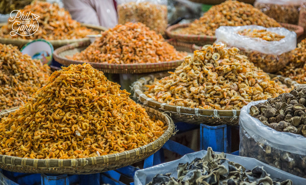 Baskets of dried shrimp, the staple ingredient in many Vietnamese dishes