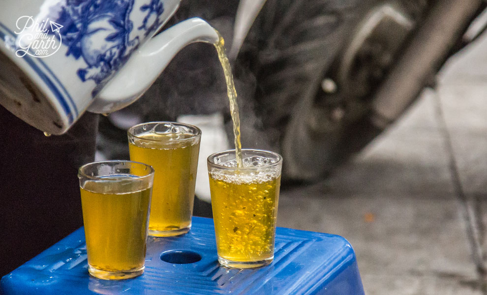 Hot Vietnamese tea on the street