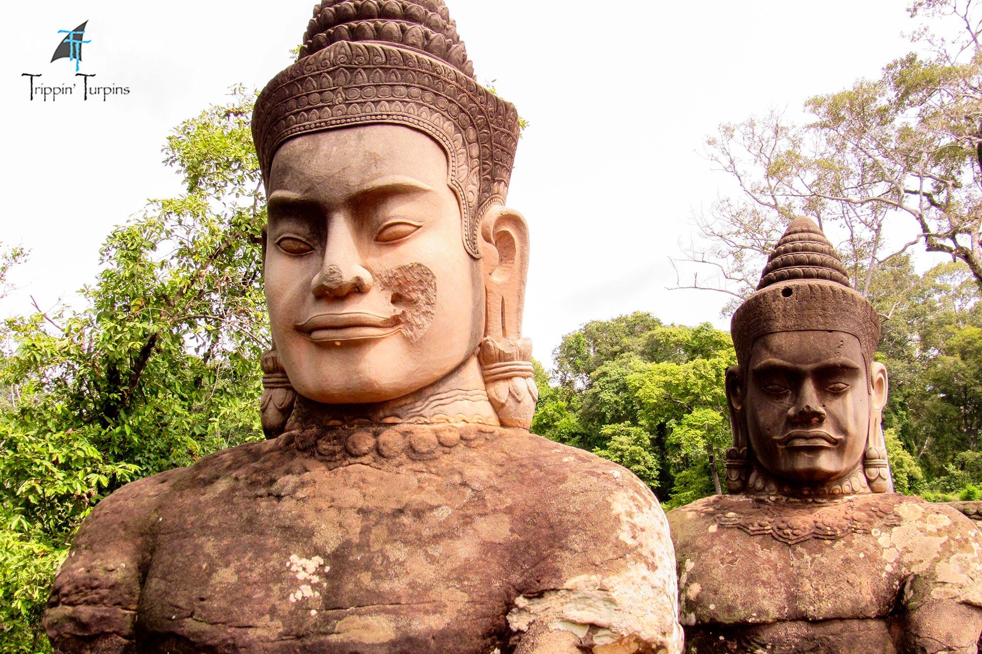 Statues on Angkor Thom's East Gate Bridge, Cambodia