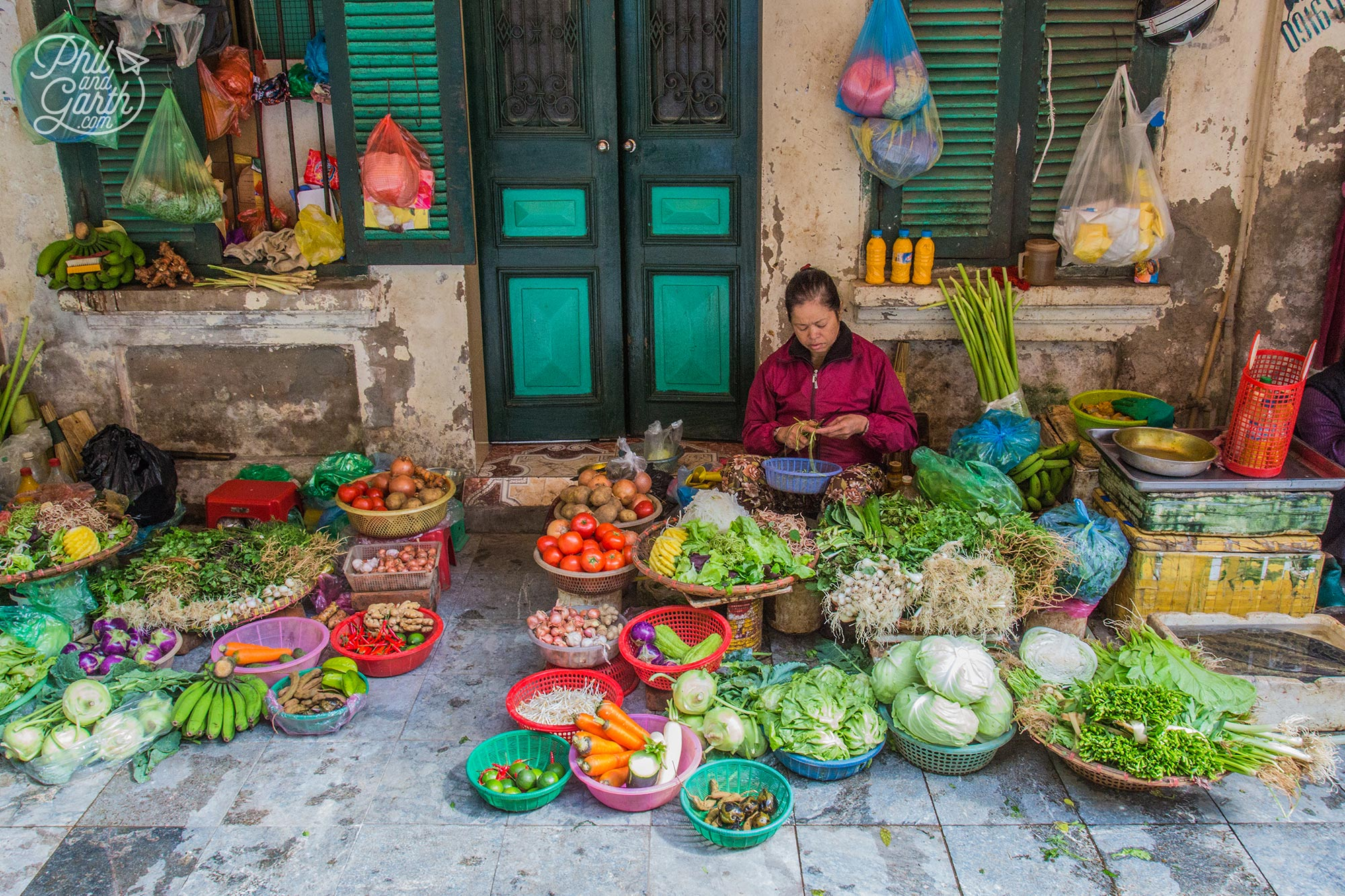 A typical street scene in the Old Quarter of Hanoi