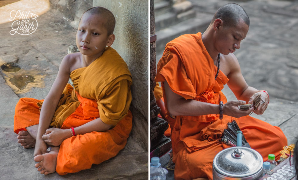 Monks inside Angkor Wat