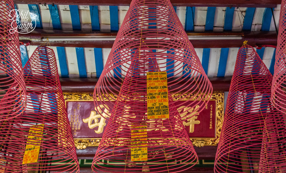 Large incense coils inside the main hall