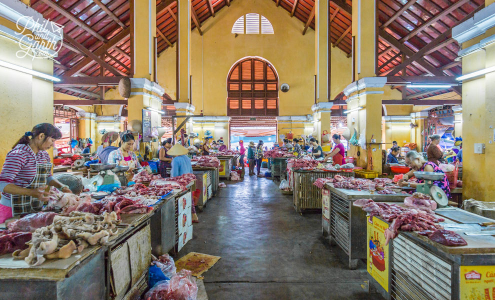 The meat hall inside Central Market