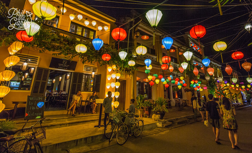 The beautiful coloured silk lanterns at night