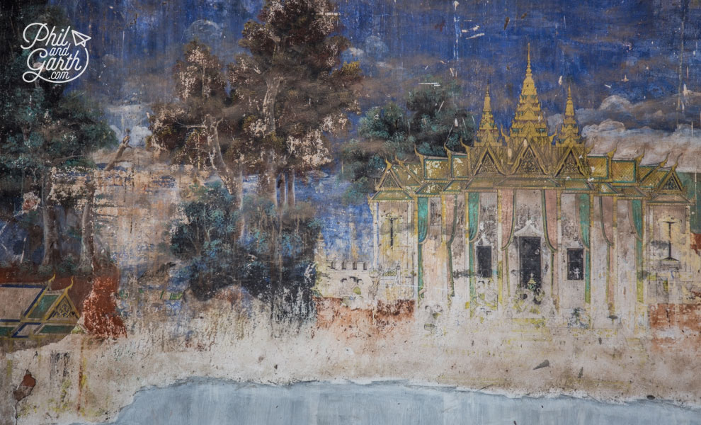 Old Khmer art on a compound wall
