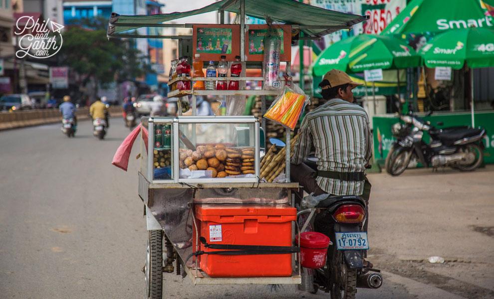 Plenty of street food vendors on bikes