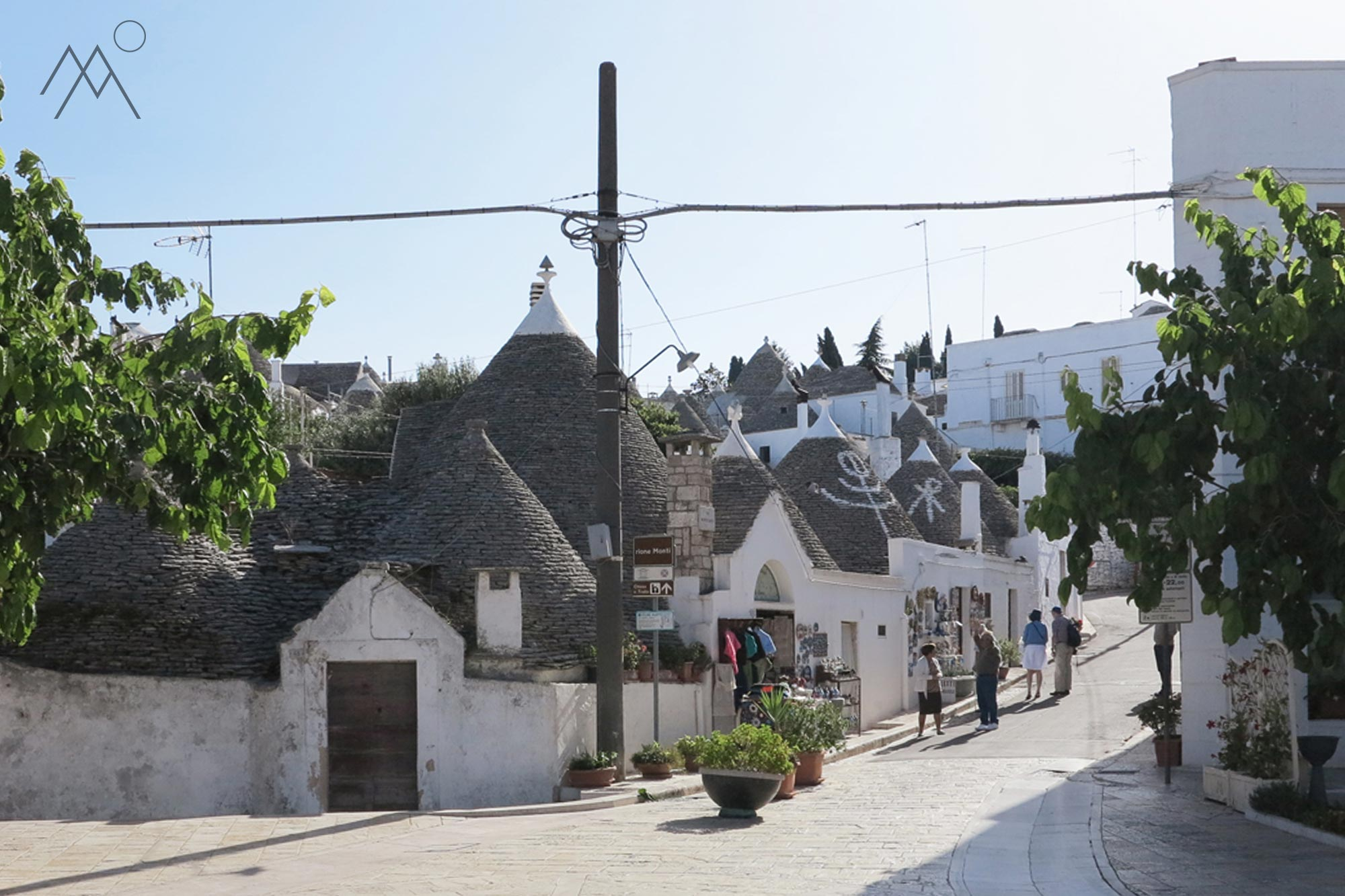 Tiny little streets of Alberobello's historic center, Italy