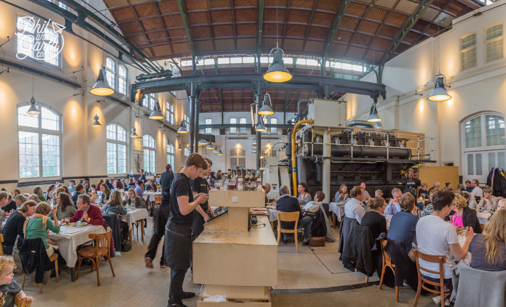 Fabulous industrial interior of Café Restaurant Amsterdam