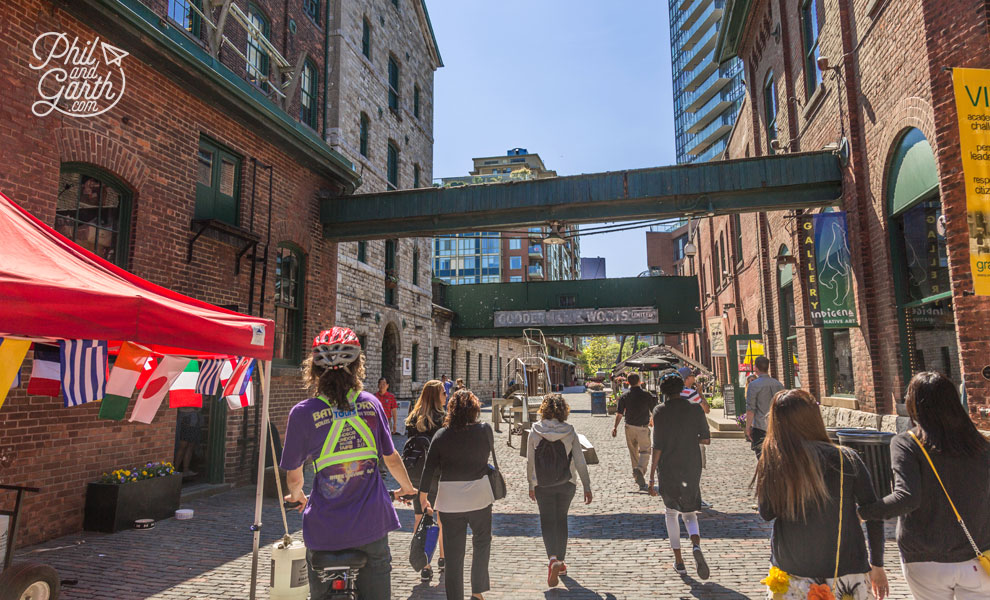 Biking along the cobbled streets