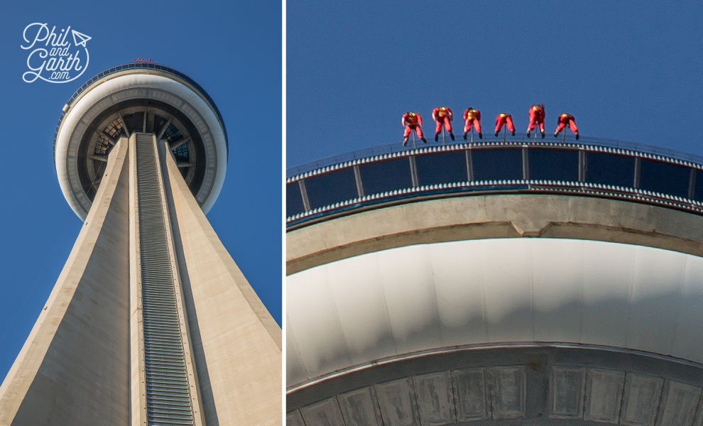 The red dots in the left hand picture are people! undertaking the terrifying EdgeWalk