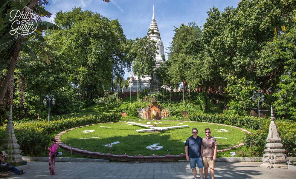 Phil and Garth at the Floral Clock, Wat Phnom