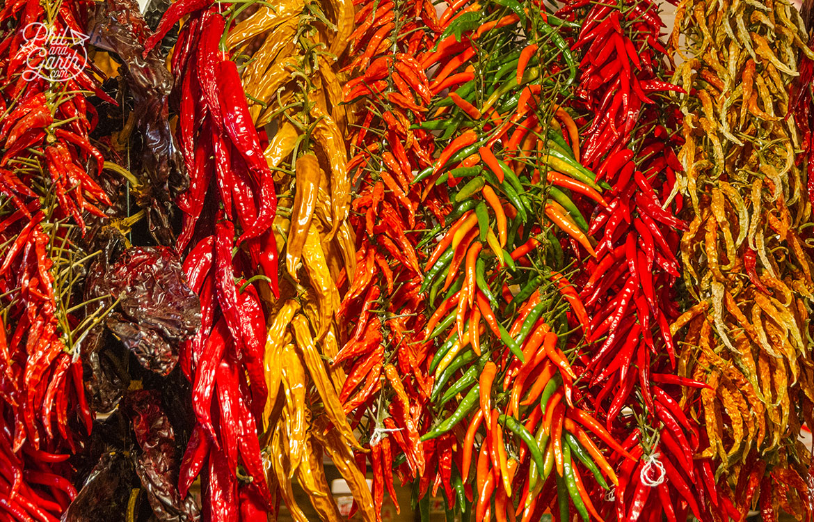 Gorgeous display of sun dried chillies