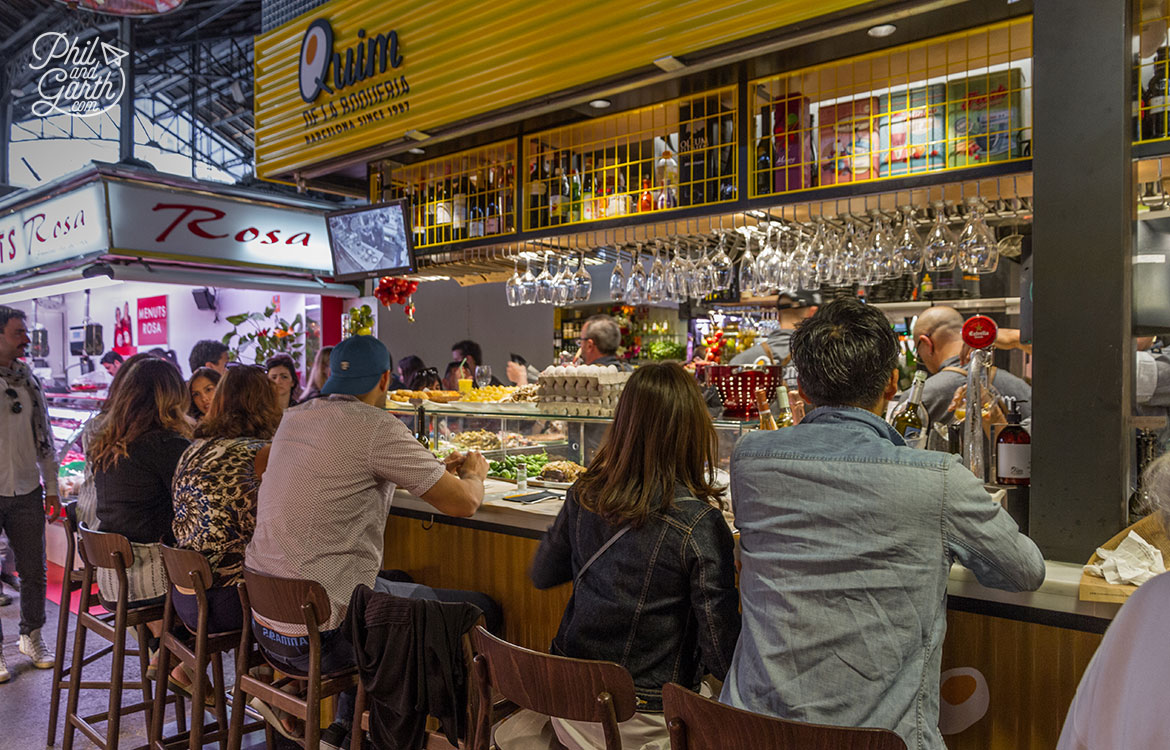 One of the ten tapas bar inside the market