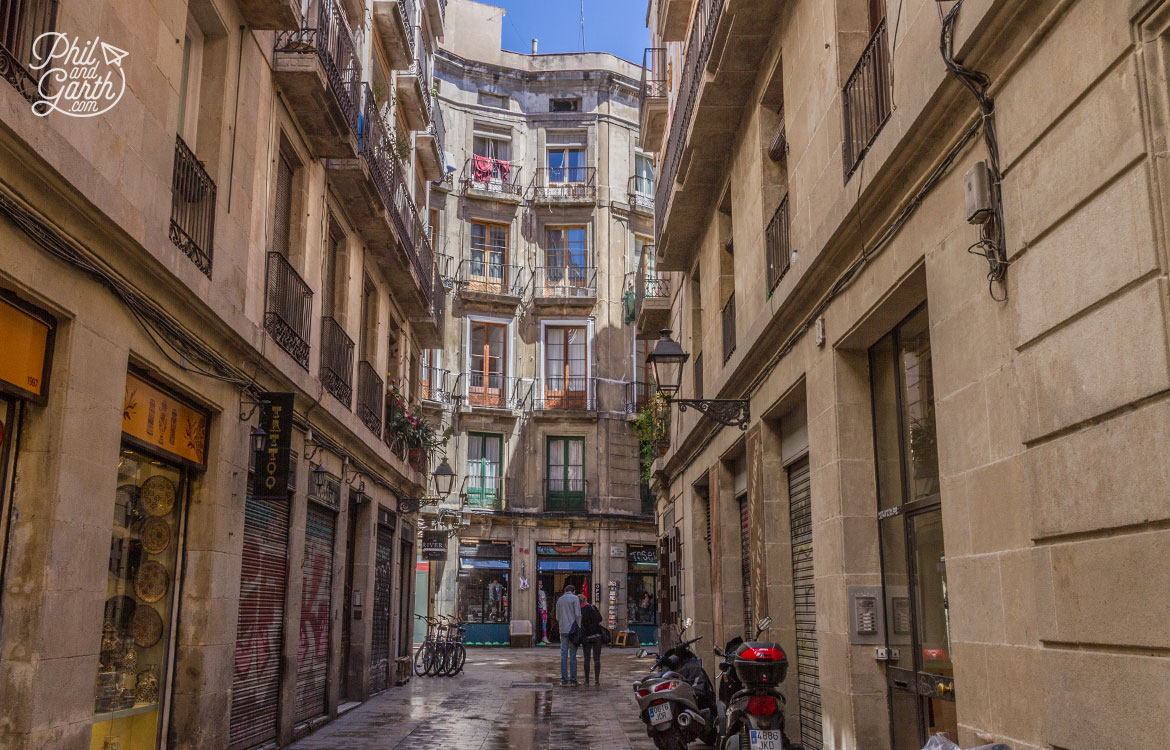 The atmospheric streets of the Gothic Quarter in Barcelona