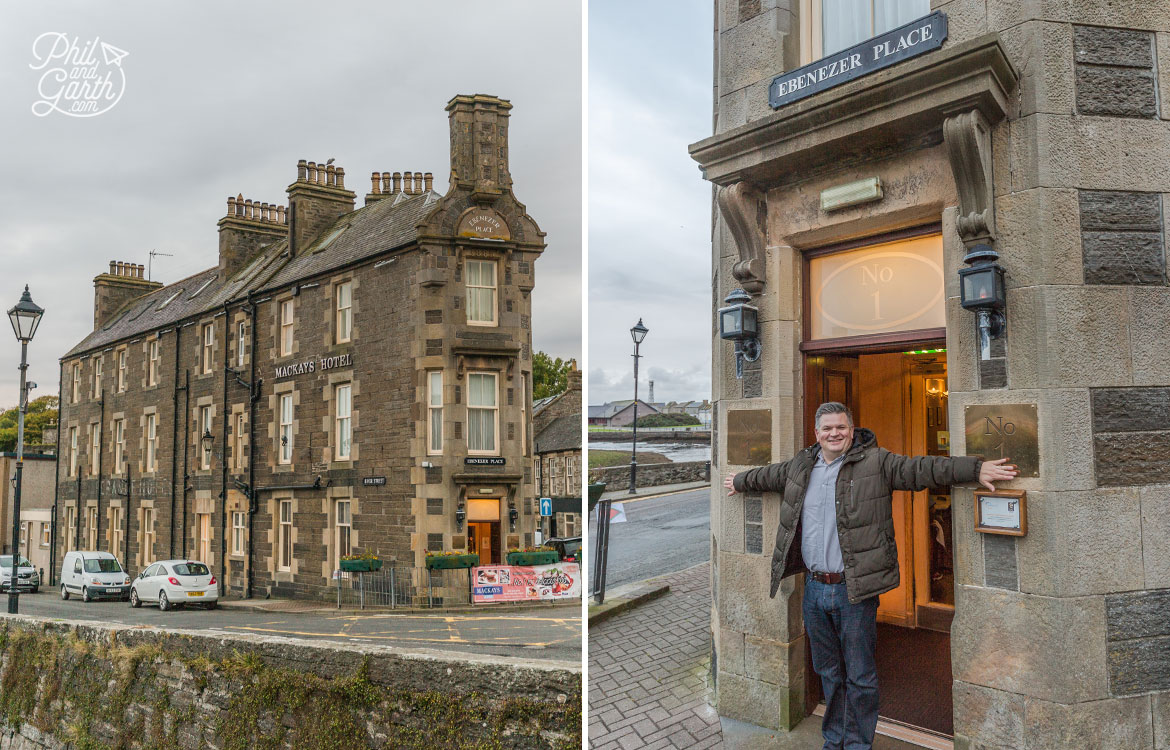 Phil on Ebenezer Place in Wick - the world's shortest street